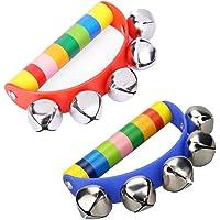 Newin Star Baby Rattle, Bells Rattle, Wooden Handbell, Musical Instruments for Children and Babies (Rainbow)
