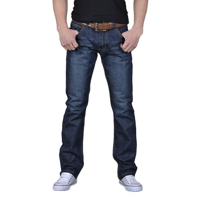 Pantalones Vaqueros Largo Recto Hombres b595fff7ffe4
