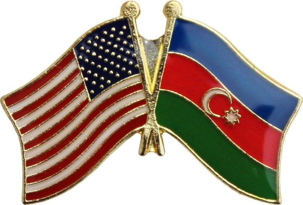 AES USA American & Azerbaijan Country Flag Bike Hat Cap lapel Pin