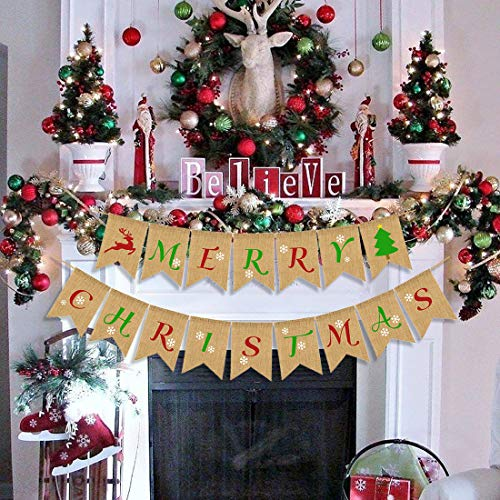 Christmas Banner Pack of 2 Merry Christmas Burlap Banners, Christmas Bunting Garland Flag for Mantle Fireplace Tree Elk Outdoor Indoor Decorations, Xmas Home Photo Prop New Year Party Supplies - Fireplace Christmas Decorations