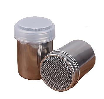 2 unidades acero inoxidable Chocolate coctelera con tapa dispensador de azúcar en polvo cacao harina café especias Tamiz cocina herramientas: Amazon.es: ...
