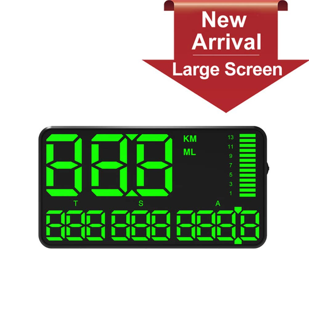 UFFD Car HUD Head Up Digital Display Speedometer, with GPS Over Speed Alarm - for Vehicles/Bike/Motorcycle, USB Charging Available