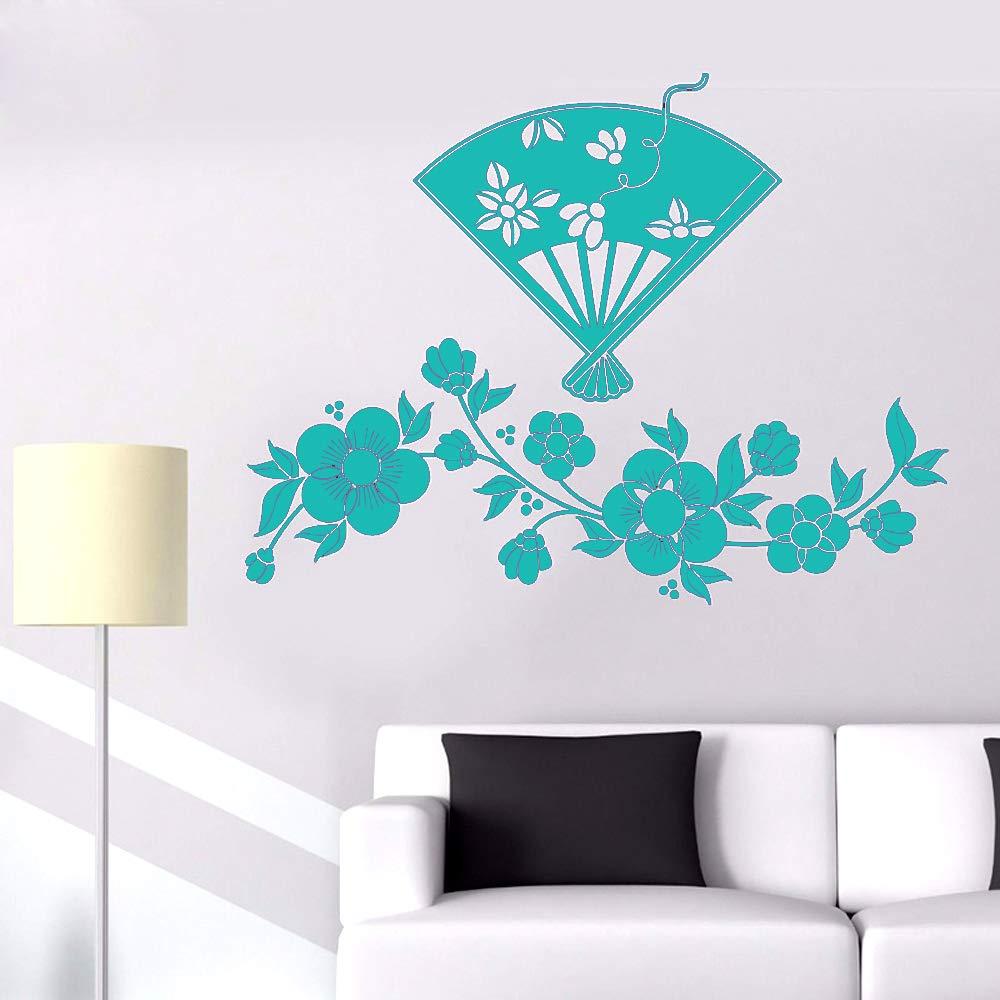 Vinilo Tatuajes de pared Flores de cerezo y abanico japonés ...