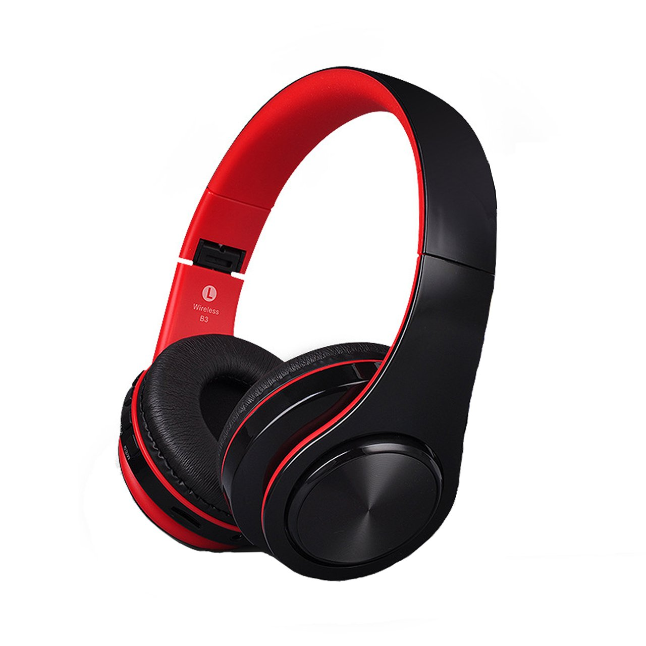 Bluetooth Headphones Over Ear Lightweight, Comfortable for Long-time Wearing, Hi-Fi Stereo Wireless Headphones, Foldable Headset w/Built-in Mic and Wired Mode for PC/Cell Phones/Black-Red