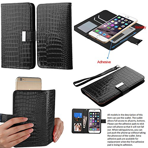 Case+Stylus Fits iPhone HTC Samusng etc. Yuga Universal Black Crocodile MyJacket PU Leather Case Wallet for Phones with Display Size of Medium 4.7