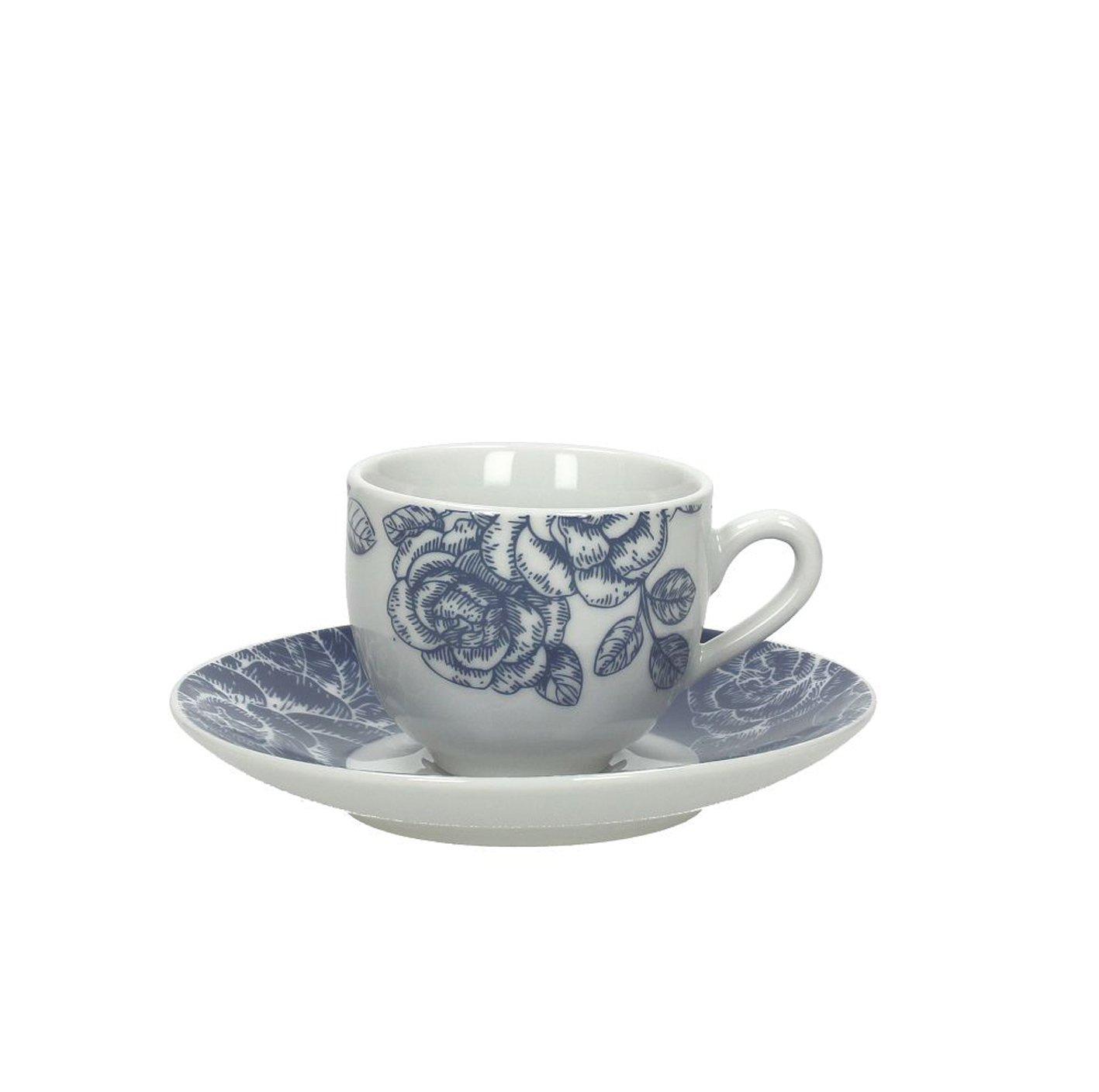 Tognana Olimpia Garden Packung 6Tassen Kaffee mit Untertasse, Porzellan, Blau, 12x 12x 5cm