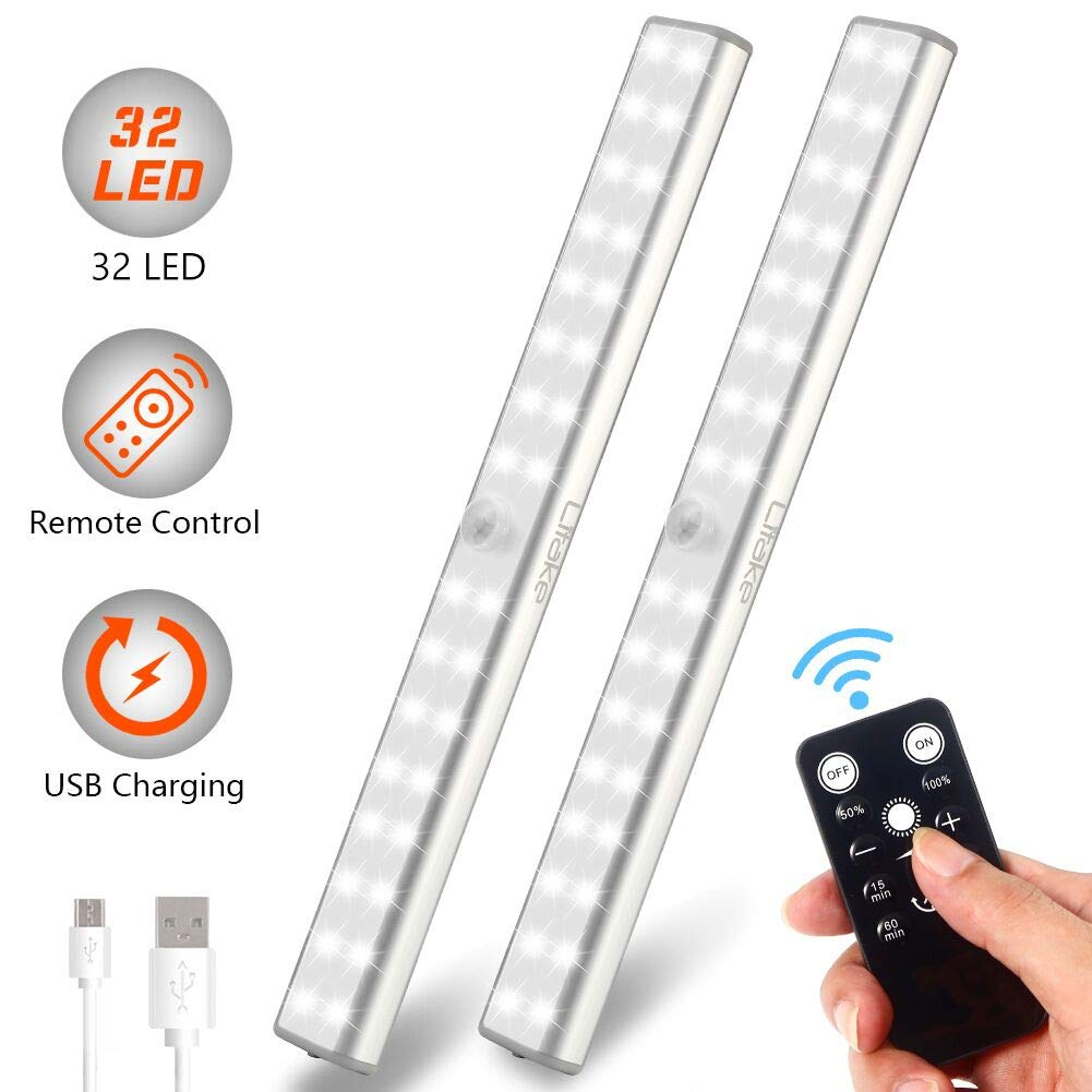 Litake Rechargeable Under Cabinet Lighting ,32 LED Wireless LED Wardrobe Closet Lights with Remote, Stick On Dimmable Under Counter Lighting,LED Magnetic Lights for Cabinets (2 Pack)