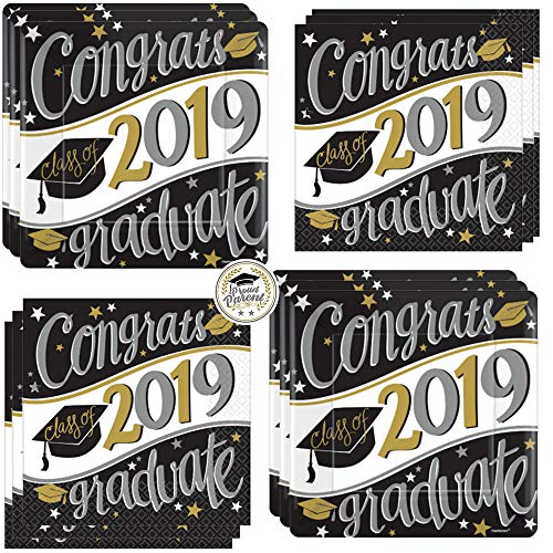 Black, Silver, and Gold Class of 2019 Graduation Party Dessert Pack For 36 With Dessert Congrats Grad Plates, Luncheon Congrats Grad 2019 Napkins, and Exclusive Proud Parent Pin By Another Dream