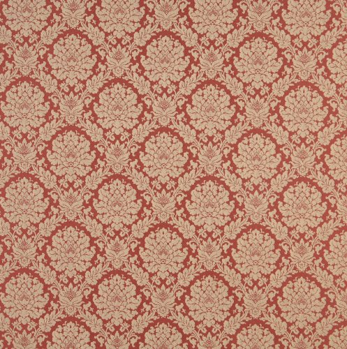 Coral Beige Tan Taupe Orange Persimmon Floral Heirloom Vintage Damask Jacquard Upholstery Fabric by the yard