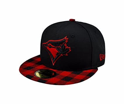 free shipping e91a1 8fd20 New Era 59fifty MLB Toronto Blue Jays Hat Premium Fitted Black with Red Cap