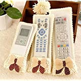 3X 3 pcs New TV Air Conditioner Lace Bowknot Remote Control Cover Case Protector Color:Light yellow