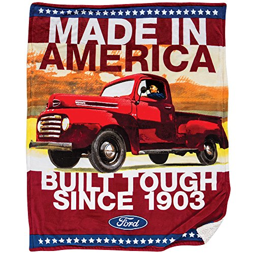 Ford Truck Fleece Sherpa Throw - Strong & Tough American Vintage Truck ()