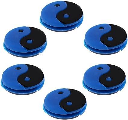 Lot de 6 pi/èces Yin et Yang bleu Anti-vibrateur SGerste pour raquette de tennis Motif/
