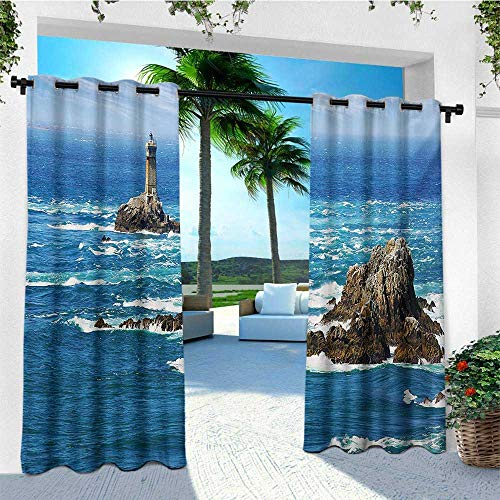 leinuoyi Lighthouse, Outdoor Patio Curtains, Daytime Lighthouse Wavy Ocean View and Clear Sky Rocky Islands Sailboat, Fashions Drape W84 x L108 Inch Blue Gray ()