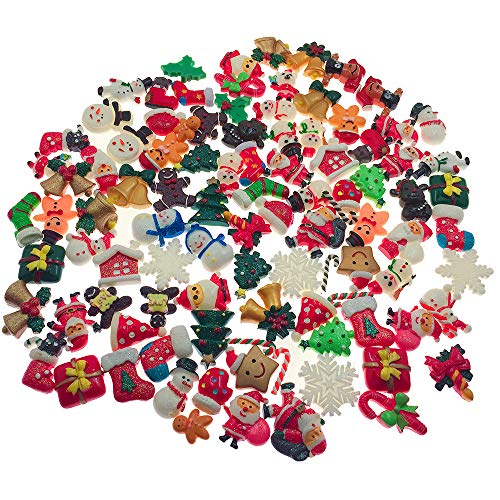 - SIX VANKA 100pcs Miniature X'Mas Christmas Decoration DIY Flatback Resin Jingle Bell Sock Craft Embellishment Sets