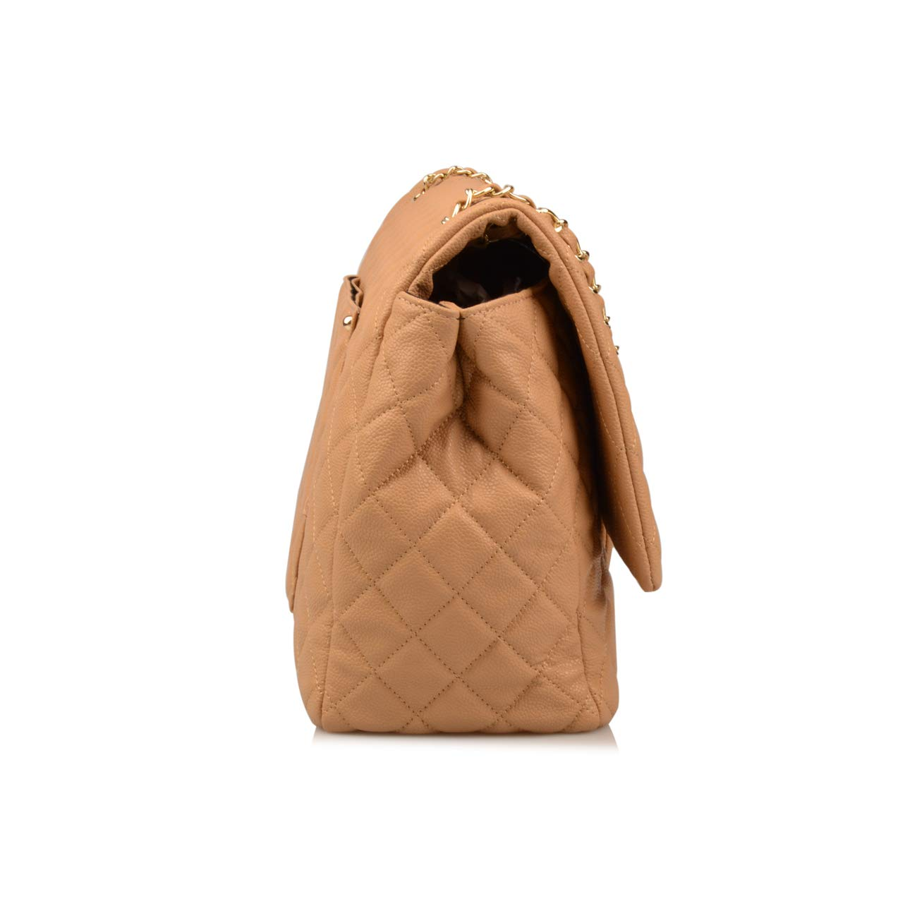 Ainifeel Women's Genuine Leather Oversize Quilted Flap Handbag Large Travelling Tote Bag Luggage Holdall (Oversize, Apricot (gold hardware)) by Ainifeel Quilted&Chain Strap Collection (Image #3)