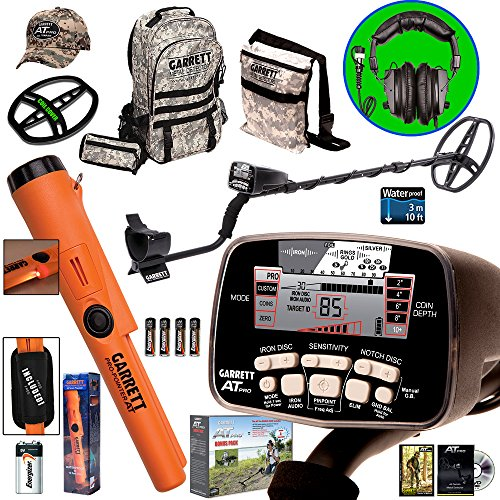 Garrett AT PRO Metal Detector Bonus Pack with Propointer AT, Headphones, Backpack, Pouch, Hat and Searchcoil Cover by AT PRO Bonus Pack + Propointer AT