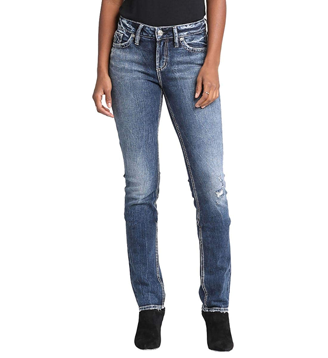 5f6674da7f Curvy relaxed straight-leg jeans with a dark indigo wash. Mid rise.  Comfortable low-stretch denim 5-pocket styling with a zip fly
