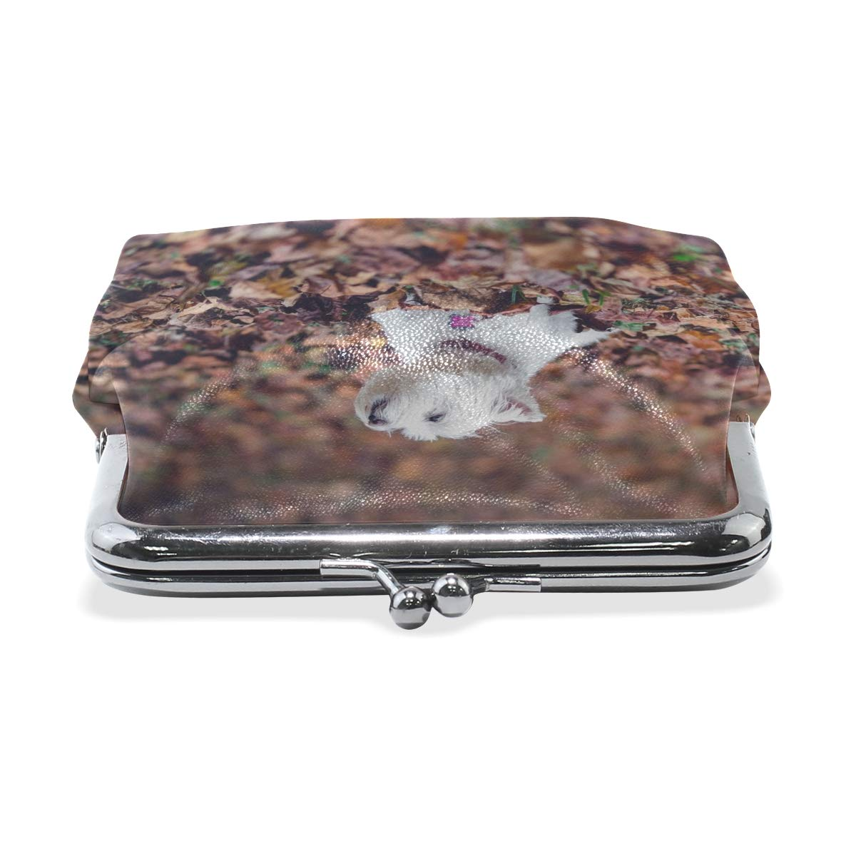 Rh Studio Coin Purse Clasp Closure Dogs Leaves Fall Down Terrier Print Wallet Exquisite Coin Pouch Girls Women Clutch Handbag Exquisite Gift