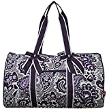 NGIL Quilted Weekend Travel Overnight 20'' Large Duffle Bag 2018 Spring Collection (Paisley Park Purple)