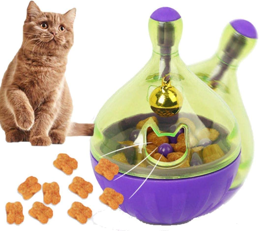 Q Pet House Cat Toys -Interactive Food Dispenser Treat Ball Shape Slow Feeder for cat and Dog: Tumbler Roly-Poly Pet IQ Training Toy for Kitten and Puppy