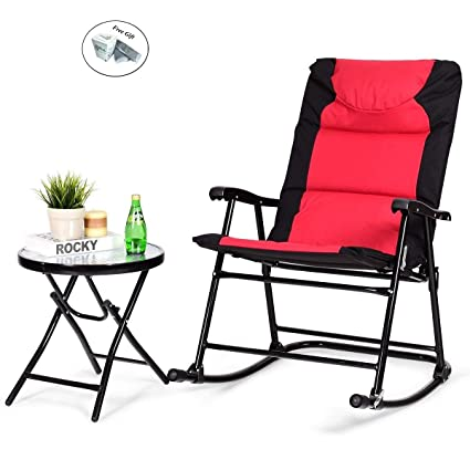 Phenomenal Amazon Com 3 Pcs Outdoor Folding Rocking Chair Table Set Pdpeps Interior Chair Design Pdpepsorg