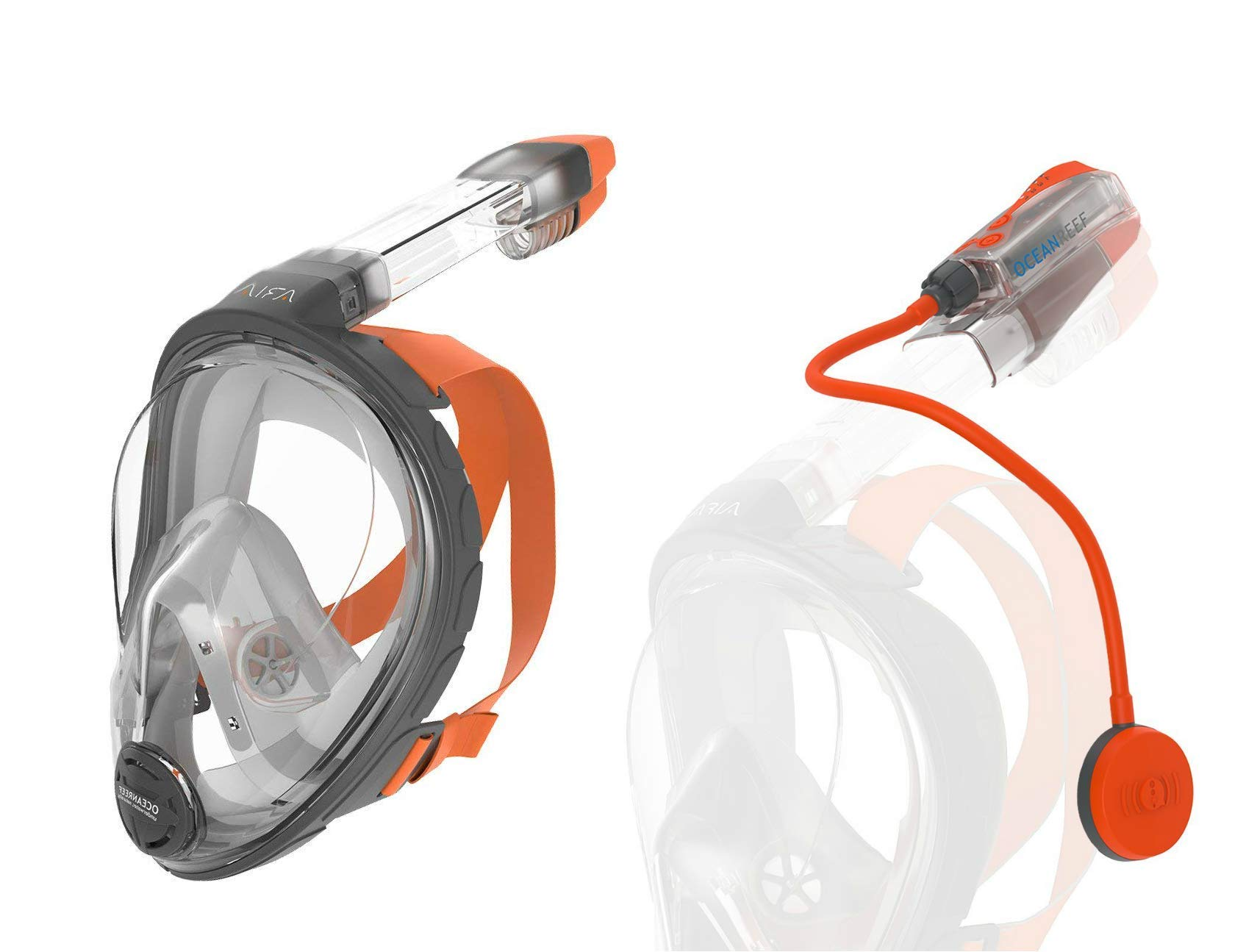 Ocean Reef Snorkie Talkie Aria Mask System (Grey, Extra Small)