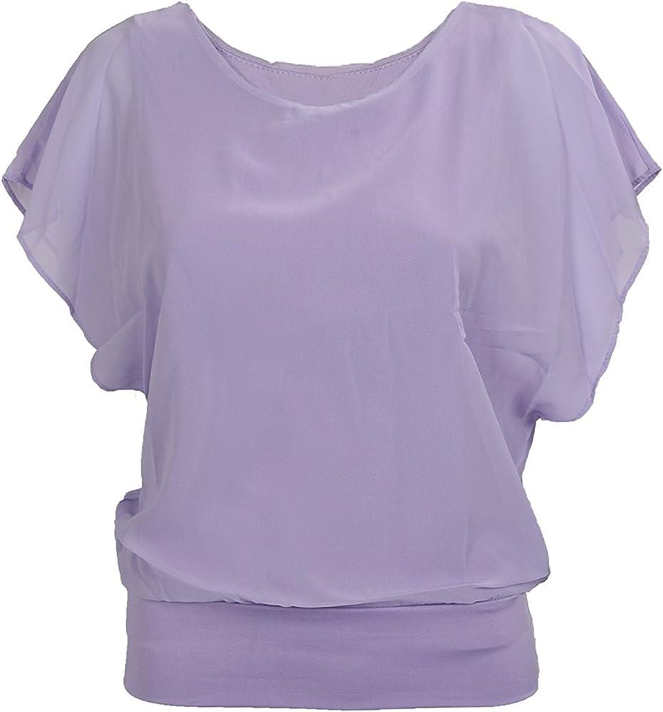 TOOGOO(R)Mujeres Carrera Color del Caramelo Gasa Tops Camisa Cabida Manga de Soplo Clubwear Blusa Purpura M: Amazon.es: Ropa y accesorios
