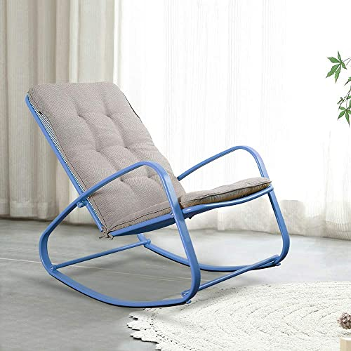 ONG Patio Rocking Chairs Outdoor Padded Steel Rocker Chairs Perfect for Balcony, Garden, Poolside