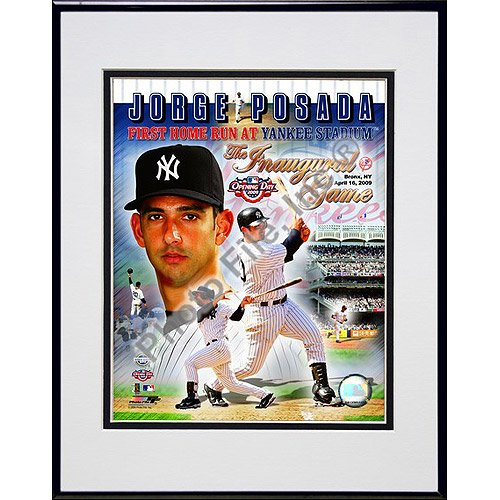 Photofile New York Yankees Jorge Posada - '09 Inaugural Game 1st H.R. / Portrait Plus - Matted 8x10 Photo in Aluminum - Inaugural Portrait