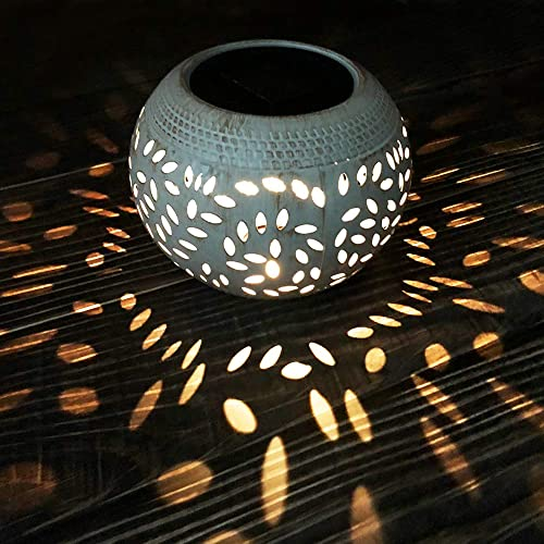 Petrala Solar Table Lights Outdoor Waterproof 7 Lumen White Metal Decorative Lighting Lantern for Desk Patio Halloween Christmas Gifts