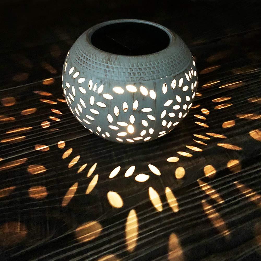 Solar Table Lights Outdoor Waterproof 8 Lumen White Metal Decorative Lighting Lantern for Desk Patio