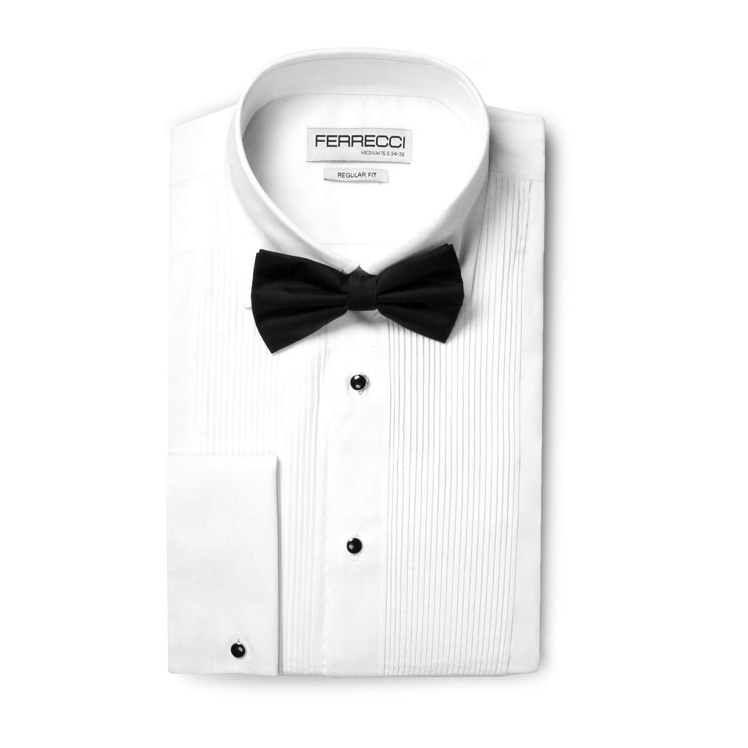 Ferrecci Men's Paris White Regular Fit Lay Down Collar Pleated Tuxedo Shirt with Bowtie (S14.5 32) by Ferrecci