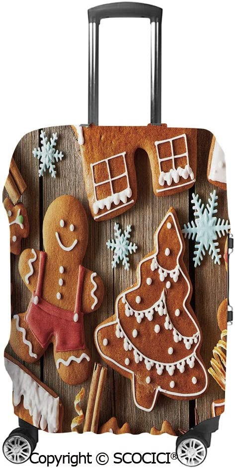 SCOCICI Luggage Cover Tasty Looking Traditional Cookies Little Snowflakes Cinnamon Protective Travel Trunk Case Elastic Luggage Suitcase Protector Cover