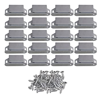 RDEXP 55x25x13mm Silver Stainless Steel Magnetic Cabinet Cupboards U0026 Door  Latch Catch Closures With Screws Set