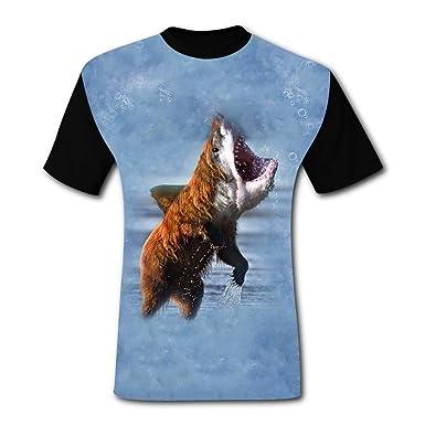 b169adf689c87 O-Neck 100% Polyester Fiber Classic Short Sleeve Top T-Shirt for Men, Print  Shark Bear   Amazon.com