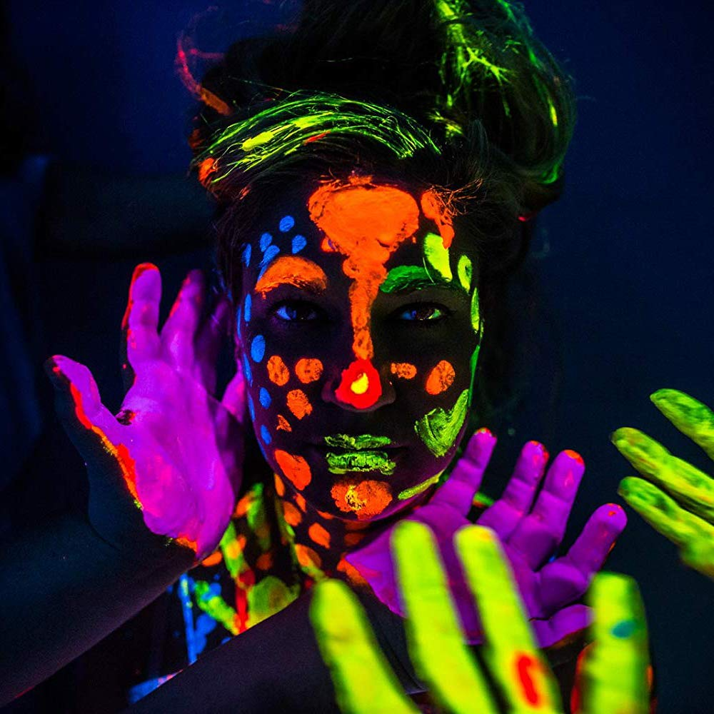 'XXL Set' 24 Cans of Neon Body Paints by neon nights - 16.5 fl oz of Luminescent Body Paints - Long-Lasting Neon Body Paints for Blacklights, UV Lights - Fluorescent Body Paints for Adults by neon nights (Image #2)
