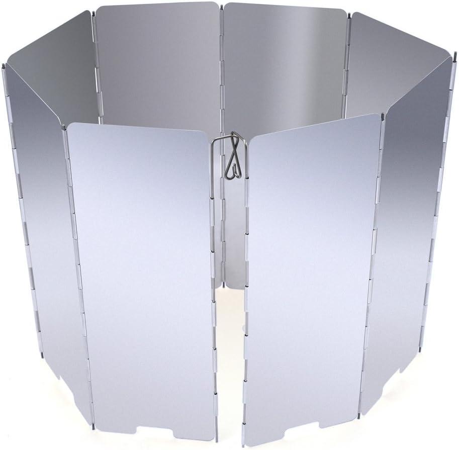 JAMSWALL Parabrisas Aluminio Plegable aleaci/ón de Aluminio con 10 Piezas para Comping Stove Protector