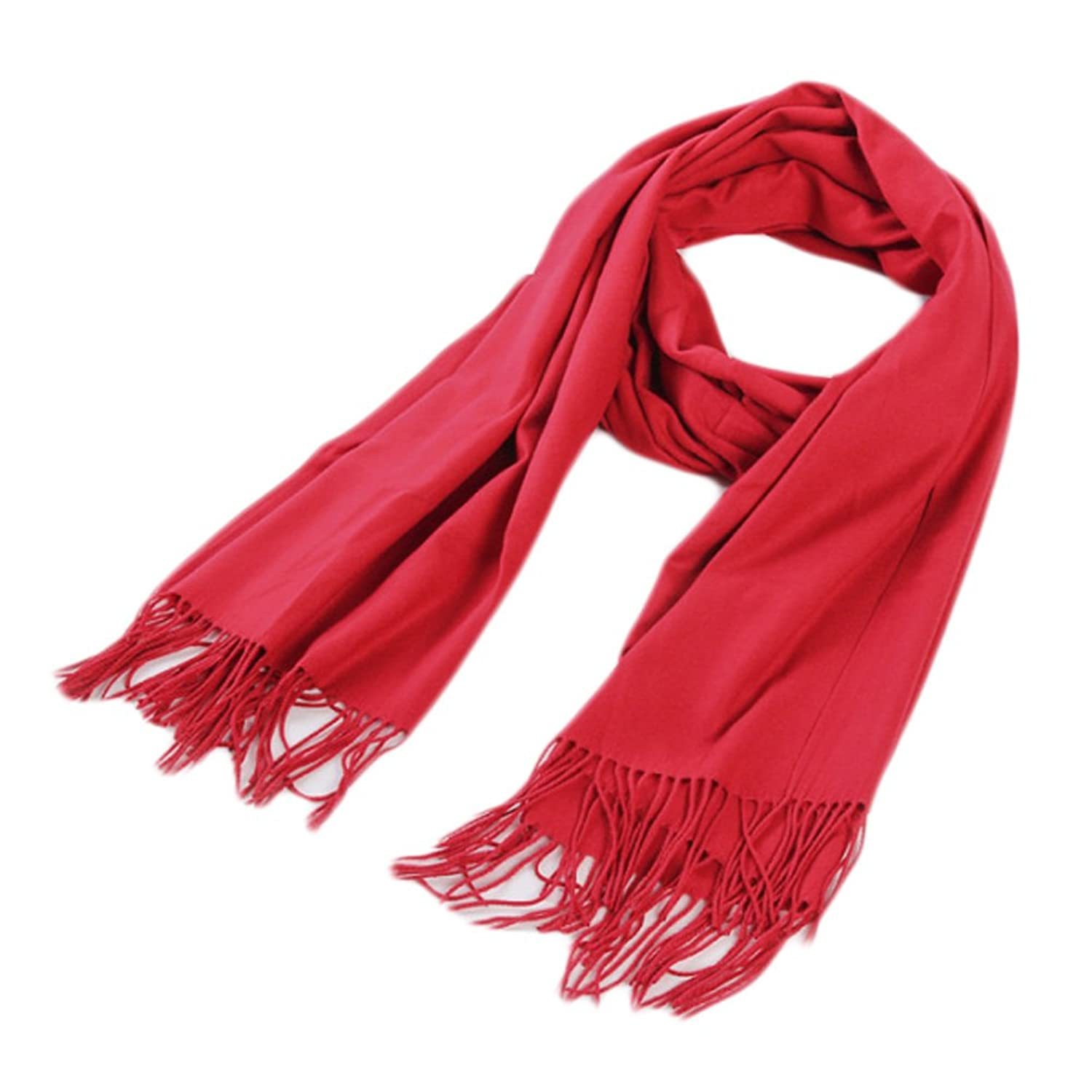 Stylish Cashmere Shawl Luxurious Pashm Tassel Soft Warm Scarf Red