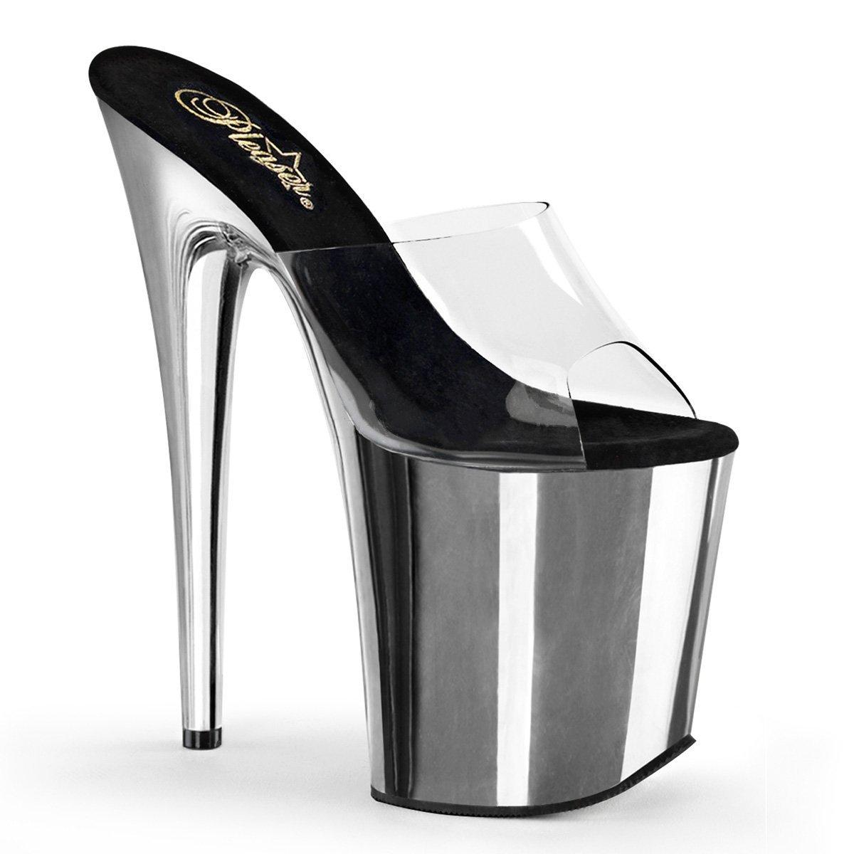 Pleaser Women's Flamingo 801 Fashion Slides Sandals B017LOFBBK 10 B(M) US Clr/Slv Chrome