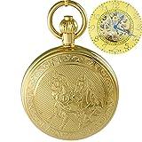 Ogle Waterproof Golden Horse Chain Bronze Fob Self Winding Automatic Skeleton Mechanical Pocket Watch