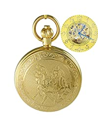 OGLE Waterproof Golden Horse Chain Bronze Fob Self Winding Automatic Skeleton Mechanical Pocket Watch