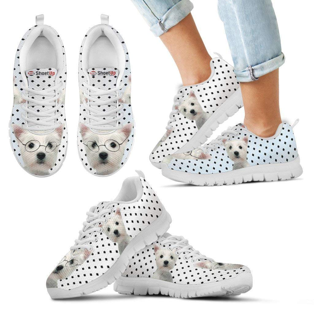 Pawlion West Highland White Terrier Black Dots Print Running Shoes for Kids-Casual Comfortable Sneakers Running Shoes