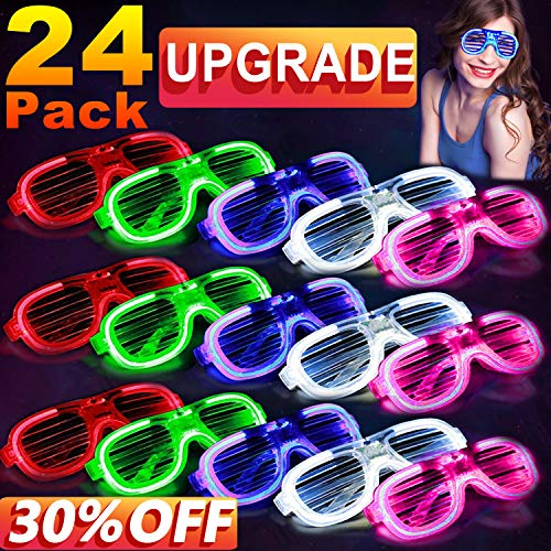 [Updgrade] LED Light Up Glasses,July 15 & 16 Deals EL Neon Rave Glasses Glow in The Dark Party Favor Supplies for Kids,Glow Sunglasses Shutter Shades Light Up Halloween Party Birthday Gift -