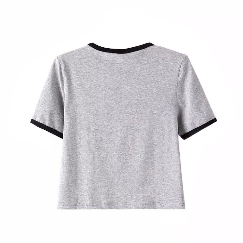 Amazon.com: Women Cute Stripe Short Sleeve O Neck Gray Crop Top Tee Tshirt: Clothing