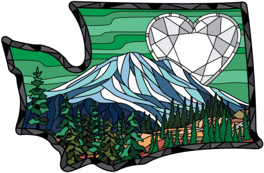 Washington Sticker Mount Rainier National Park Stained Glass Heart Gem State Shaped Decal Vinyl Apply to Water Bottle Laptop Cooler Car Truck Bumper Tumbler 206 Roots
