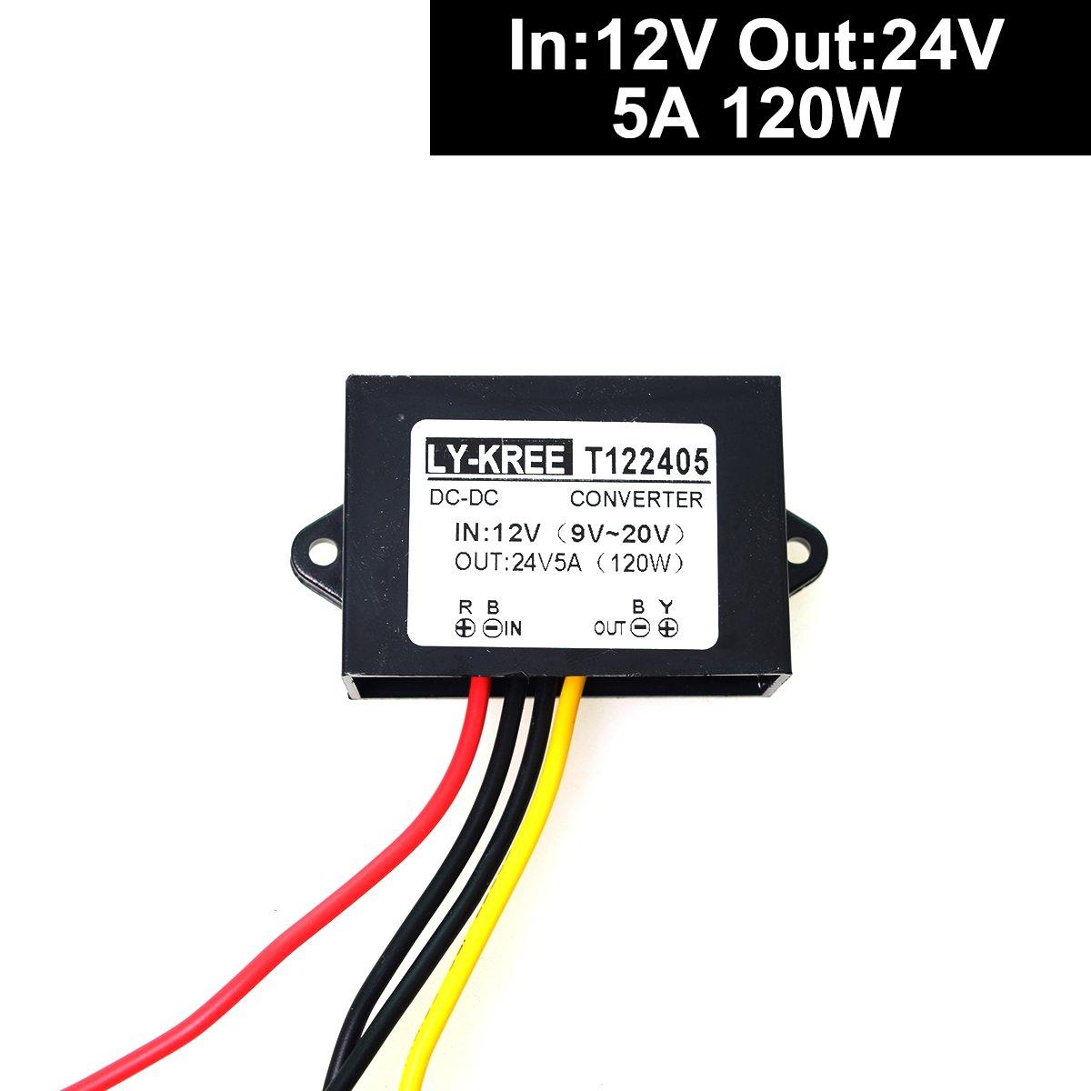DC 12v Step up to 24v Converter Regulator 5A 120W Power Supply Adapter for Motor Car Truck Vehicle Boat Solar System etc.(Accept DC9-20V Inputs)