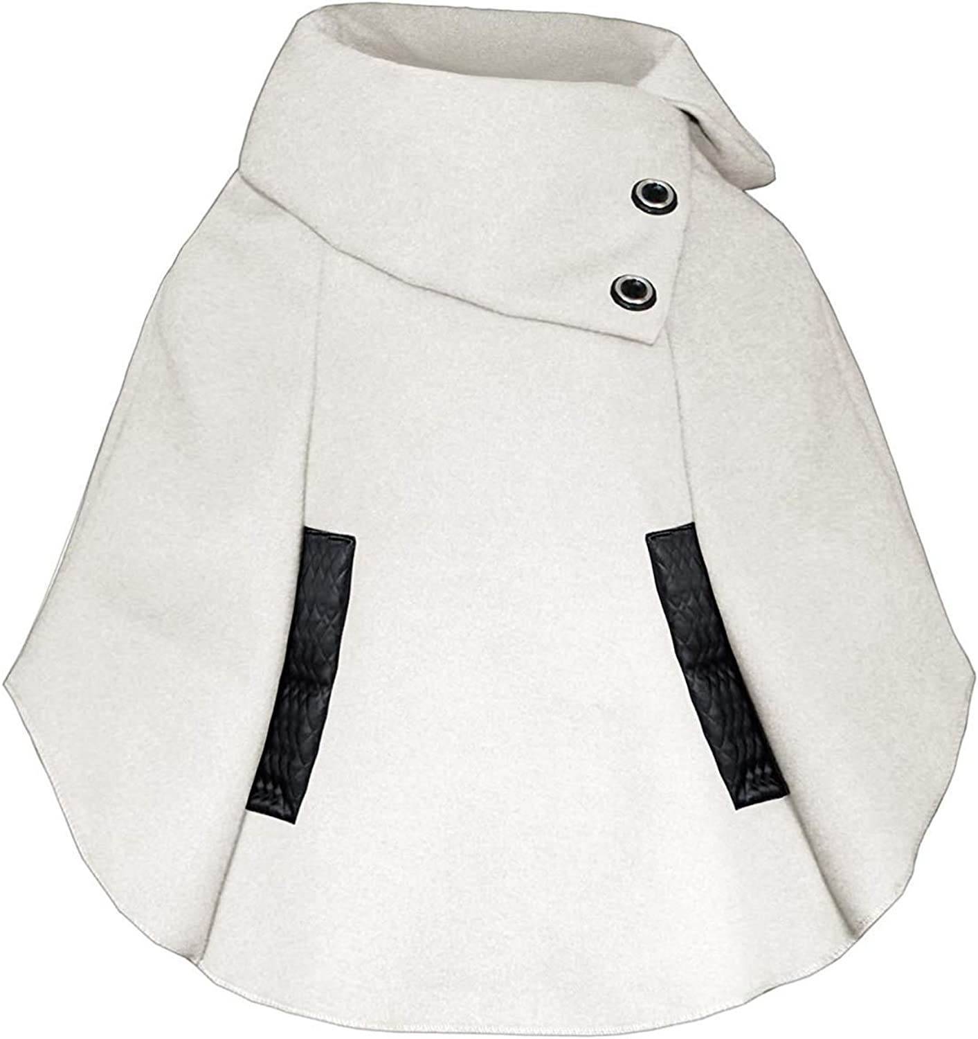 LOTMART Girls Pull on Cape Kids Asymmetrical Poncho Button Detail Coat