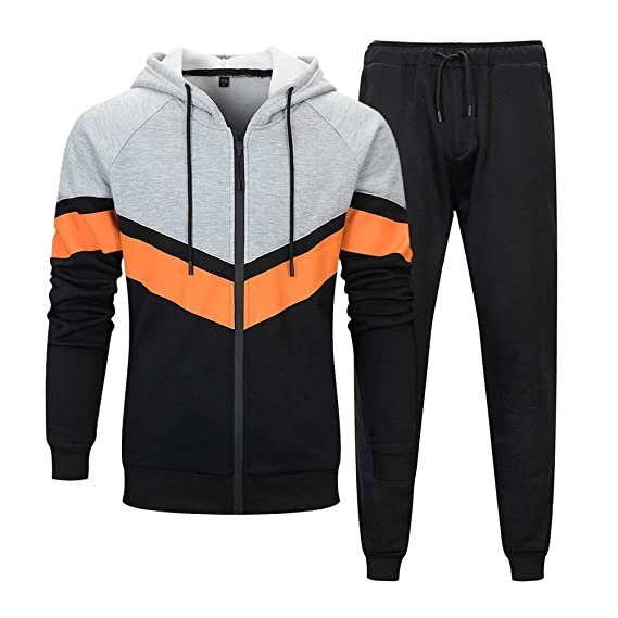 Range Men/'s Athletic Running Jogging Gym Zip Casual Hooded Sweat Track Suit Set