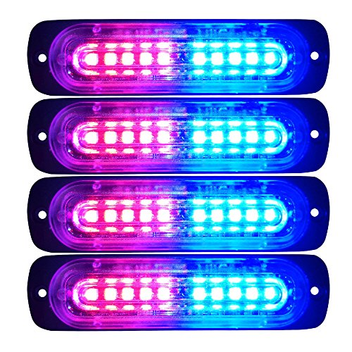 Green//White Primelux 4-Pack 4.4-Inch 10 LED Ultra Slim Strobe LED Lighthead External Emergency Grille Surface Mounting Lights